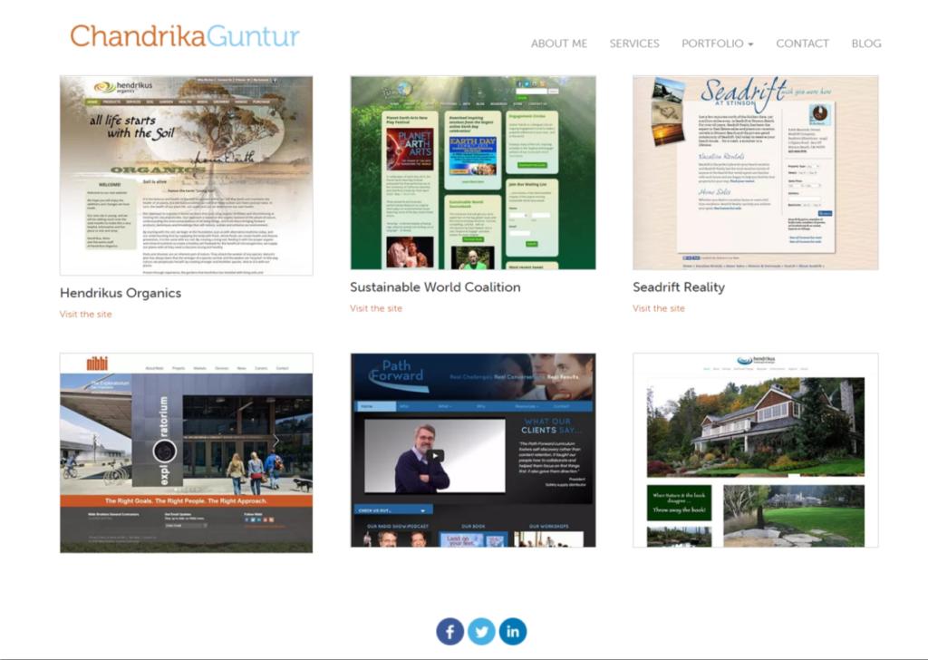 Gutenberg portfolio page layout