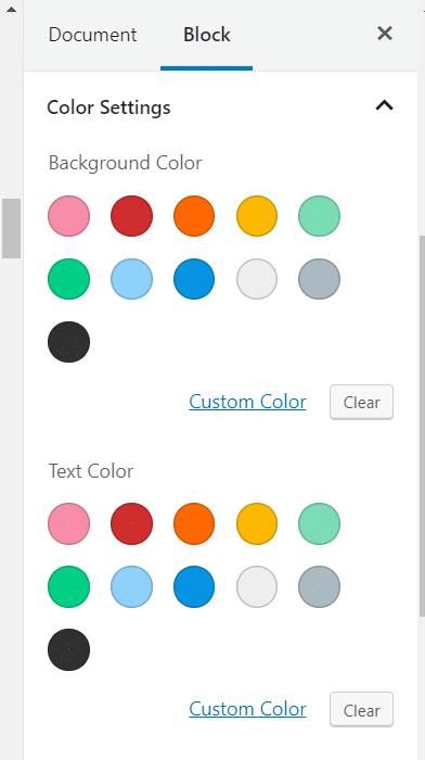 Regular Color Palette in the block editor