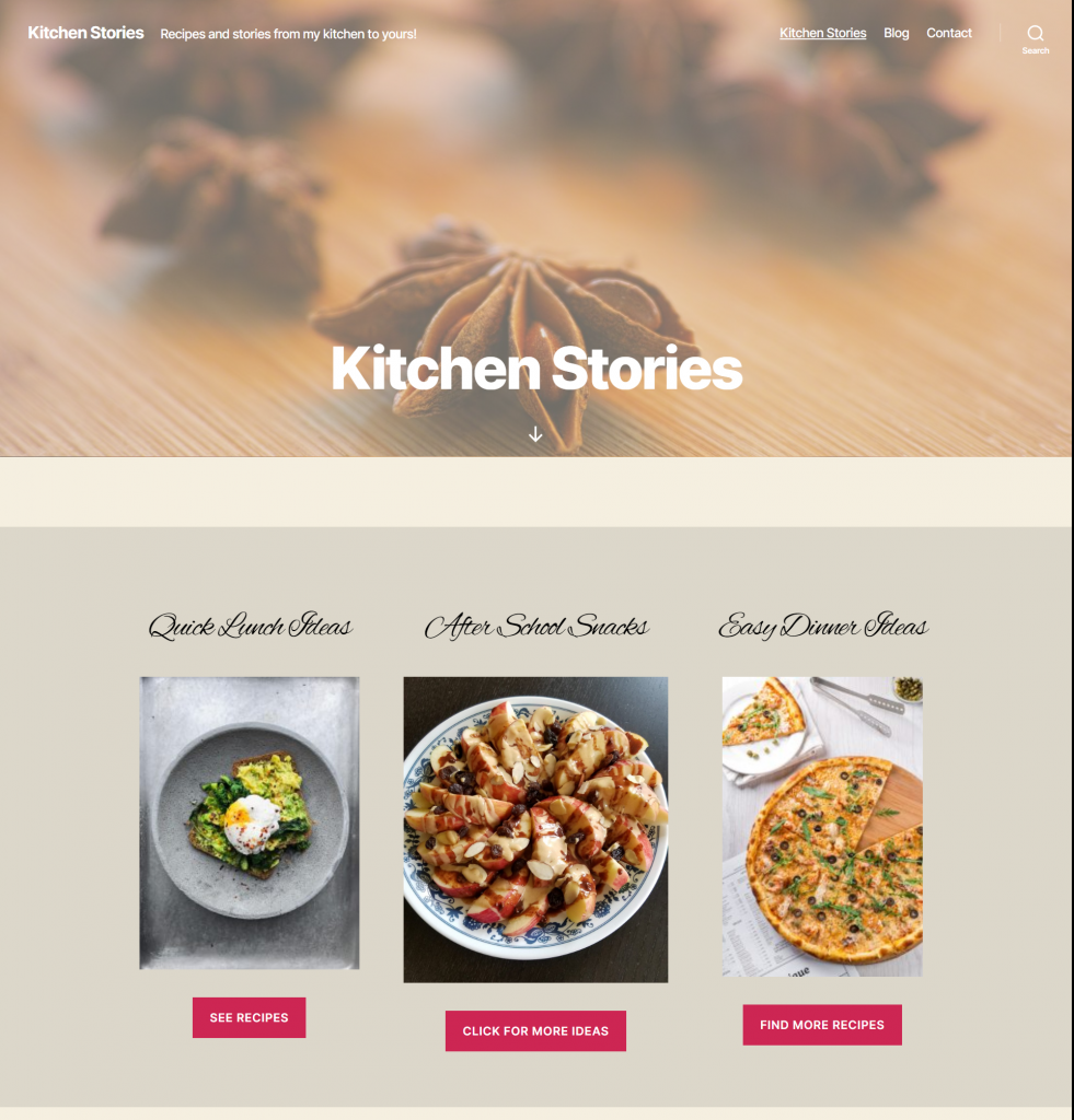 Food blog layout with Gutenberg blocks