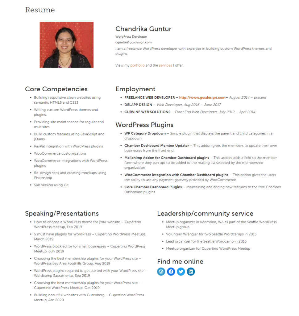 Resume Layout using column Blocks